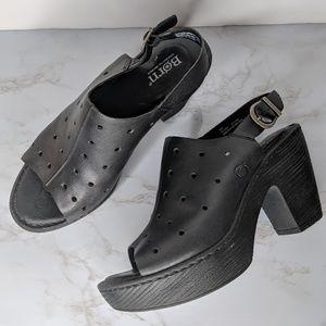 Born Galoa Clog Black Leather Peep Toe